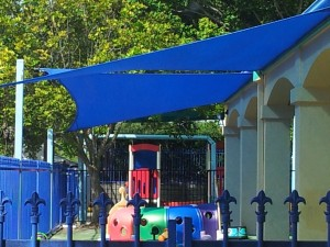 Shade sails over playground at Goodstart Kindy - Parkwood.